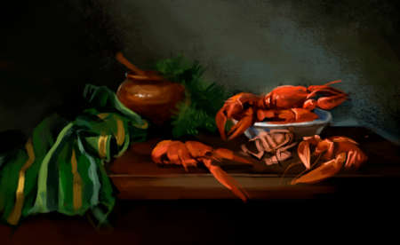 boiled crayfish on the table 写真素材