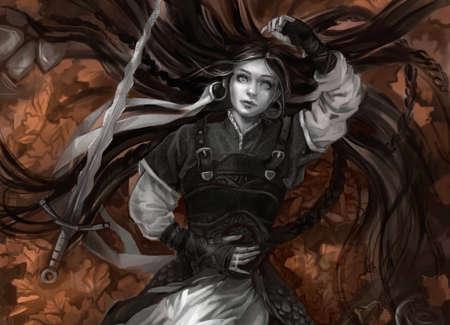 girl with long hair and gray skin with sword Zdjęcie Seryjne