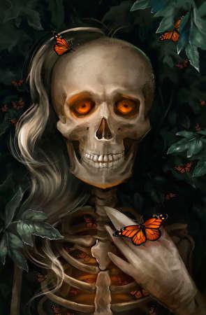 illustration of  a skeleton girl Banque d'images - 131559758