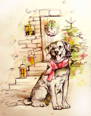 illustration of a dog near a Christmas tree