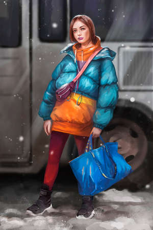 illustration of a girl waiting for the bus