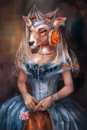 illustration of a girl with a goat head