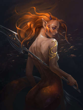 illustration of a mermaid with a sword