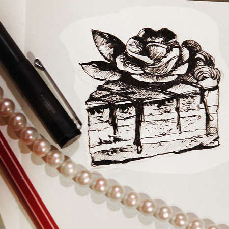 illustration of a piece of cake drawn with a pencil