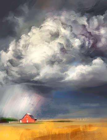 illustration of a thunderstorm in a village Banco de Imagens