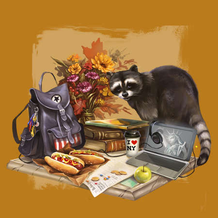 illustration of raccoon going camping