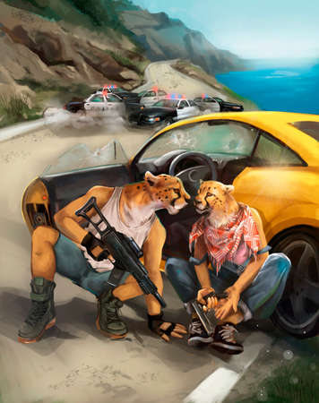 illustration of the bandits flee from the police