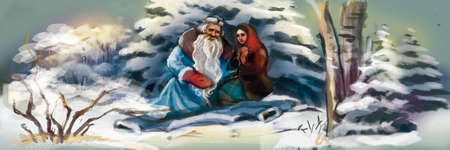 Santa claus with a girl in the winter forest 写真素材