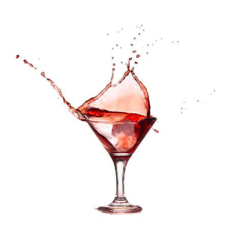 Isolated splash of red wine in glass Stok Fotoğraf