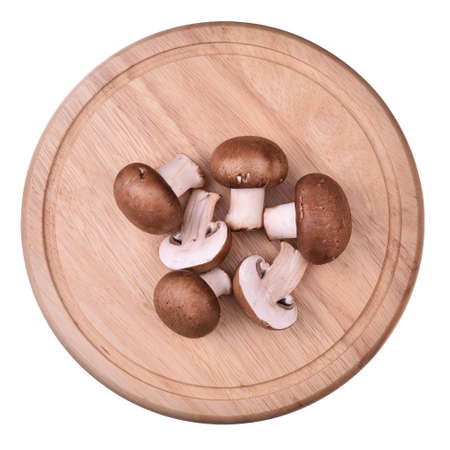 Isolated plate with mushrooms