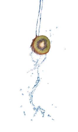 Fresh kiwi with water splash in spray of water