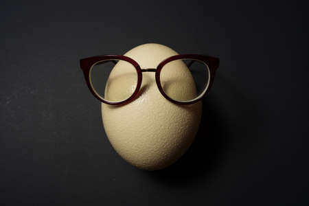 Ostrich egg with glasses at black background Stok Fotoğraf