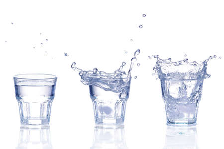 Set of Fresh water splash in a glass isolated on white background