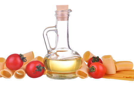 set of pasta spaghetti noodles, bottle with olive oil, sunflower oil, yellow oil, cherry tomatoes isolated on white background Standard-Bild