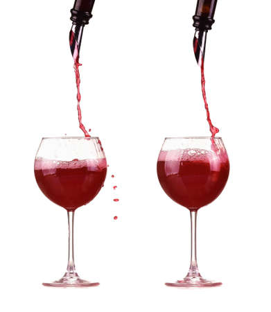 red wine pouring from a bottle into a glass through a dispenser