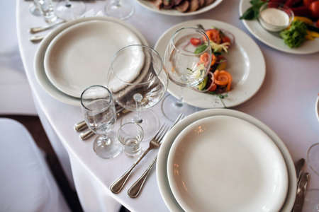 Restourant's table prepared for celebrating event Standard-Bild
