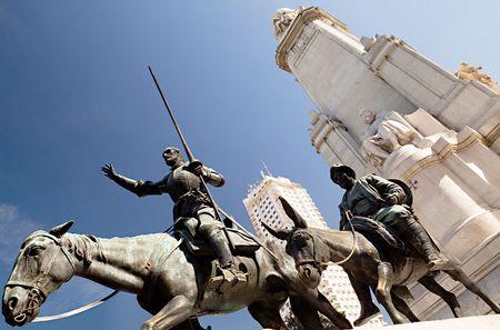 espana: Don Quixote and Sancho Panza statue on the Plaza de Espana, Madrid. Stock Photo