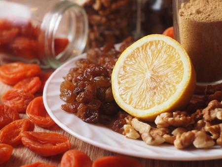 raisins dried apricots in a glass jar