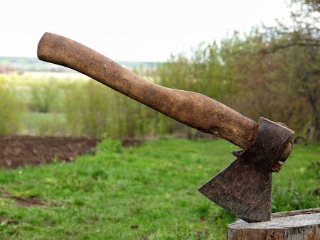 axe stuck in tree stump