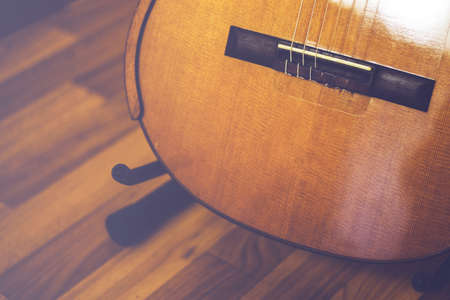 Classical guitar close-up for background