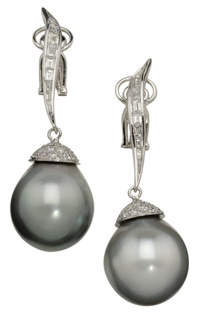 Pearl Drop Earrings. Isolated on a white background photo