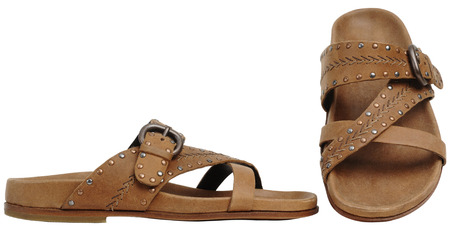 sandals isolated: Brown mans sandals, isolated on white background