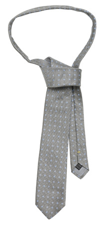 moire: Gray silk tie on a white background