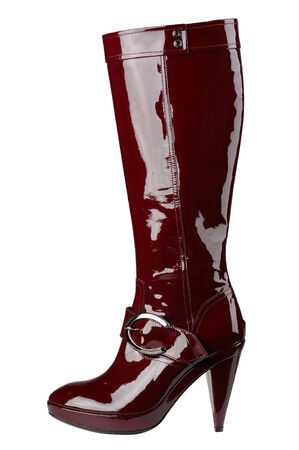 patent leather: Womens boots on a white background, isolated