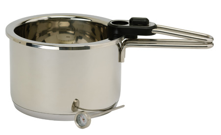 Stainless steel pressure pot with cover. Isolated on white  photo