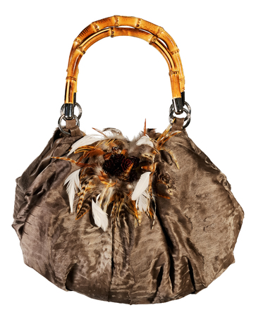 vanity bag: Fur bag isolated on white background