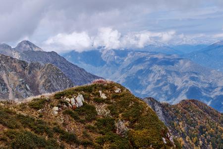 kavkaz: Beautiful autumn mountain landscape with trees at the Kavkaz