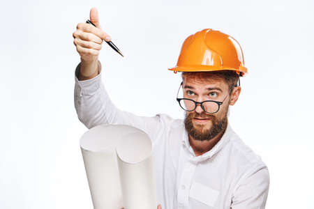 hard: Businessman in hard hat, businessman in glasses, businessman with blueprint on isolated background.