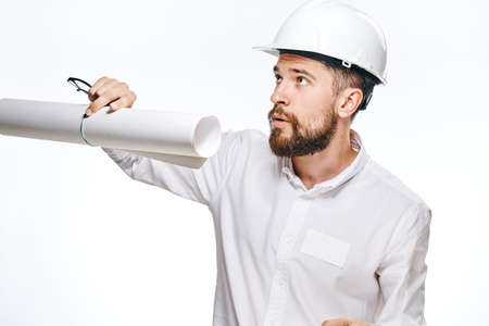 religious clothing: Engineer, builder, engineer on white isolated background, drawing, helmet.