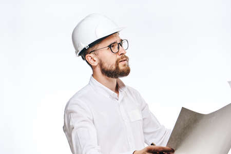 religious clothing: Engineer on white isolated background, builder in hard hat and glasses.