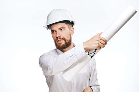 religious clothing: Engineer with beard on white isolated background, builder.