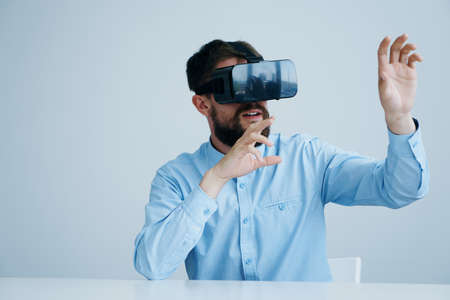 Man in virtual reality glasses.