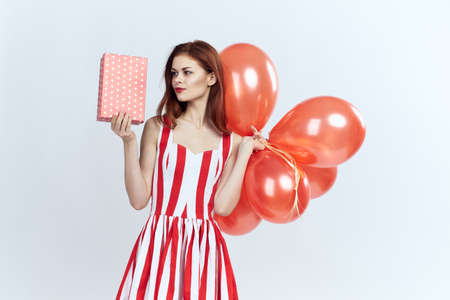 balloons, gifts, party, woman, holiday, red. Stock Photo