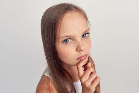 meisje, portret, close-up.