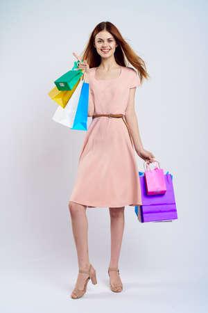 smile, white background, shopping, woman.