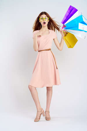 the woman surprises the shopping. Stock Photo