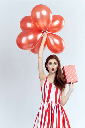 Gifts, red, balloons, woman, white background.
