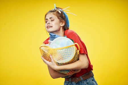 woman with trash bag ecology Stockfoto - 150371017