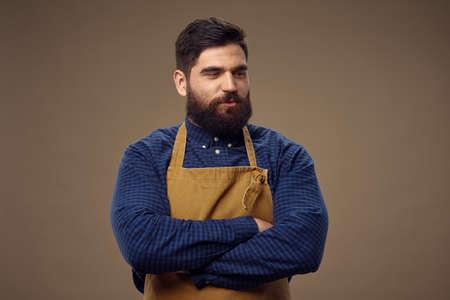 Bearded man apron barbershop hairdresser