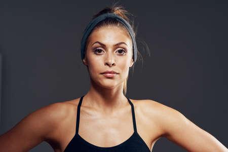 Beautiful woman portrait close-up model sport healthy Foto de archivo