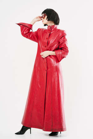 Damn red coat high heel shoes woman in black wig