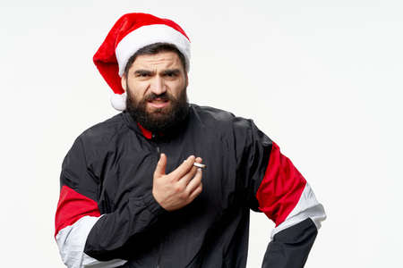 Man in Christmas cap holidays sportswear Stock Photo