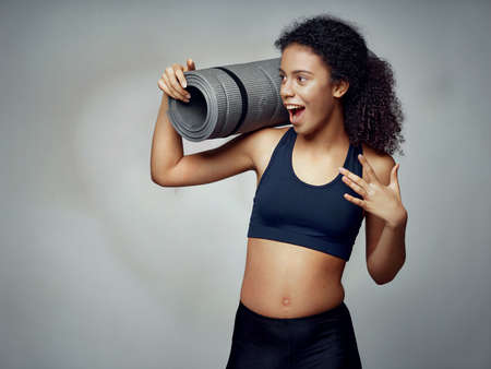 Gym sportive woman slim figure pilates exercise