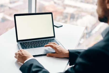 Laptop internet technology online work desk