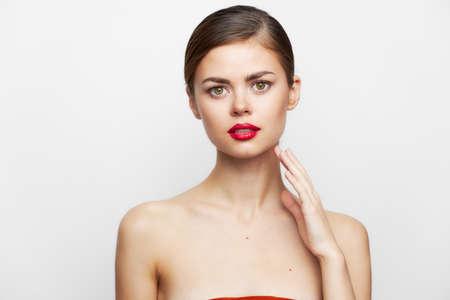 Sexy woman Red lipstick look ahead Banco de Imagens