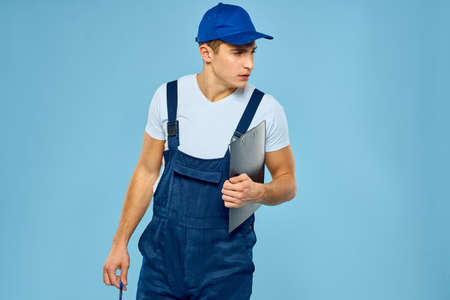 Delivery service man worker rendering service blue background